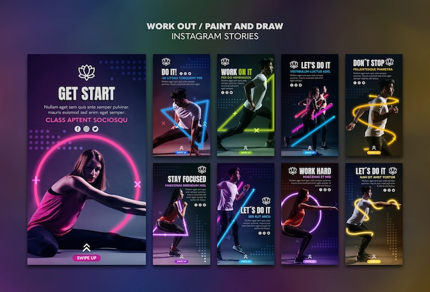 Paint and draw work out instagram stories template