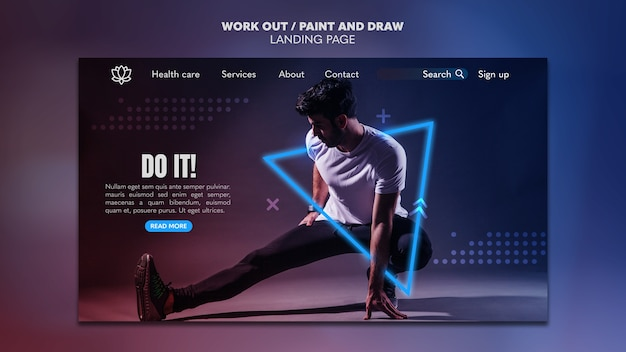 Paint and draw work out landing page template concept