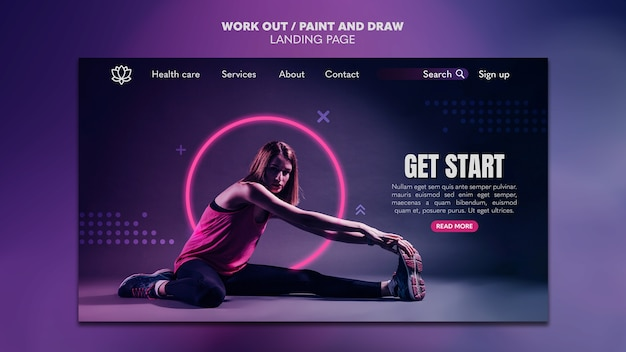 Paint and draw work out landing page template