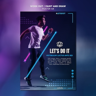 Paint and draw work out poster template concept