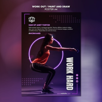 Paint and draw work out poster template design