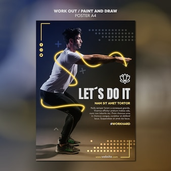 Paint and draw work out poster template theme