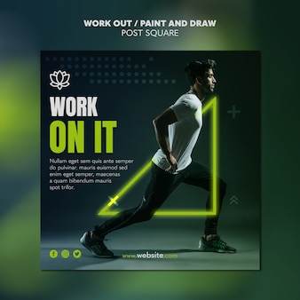 Paint and draw work out poster template