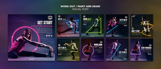 Paint and draw work out social media template