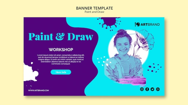 Paint and draw workshop banner template