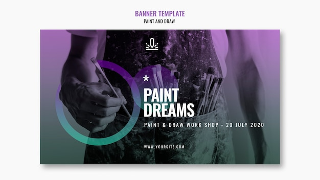 Paint dreams banner template with photo