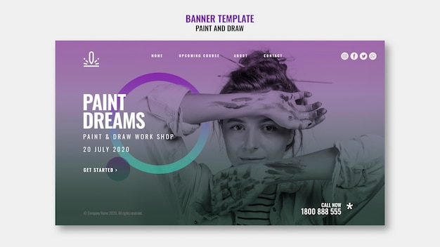 Paint dreams banner template with picture