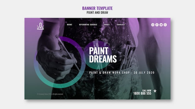 Paint dreams banner with gradient photo