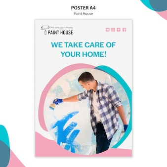 Paint house concept poster template