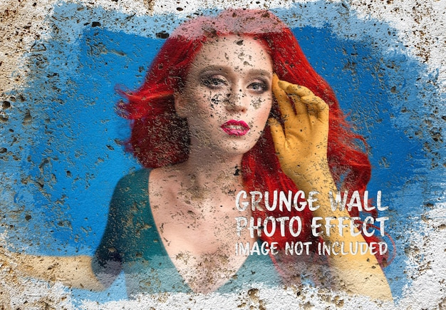 Paint photo effect on grunge wall surface mockup