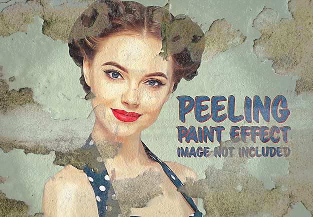 Paint photo effect on peeling wall surface mockup