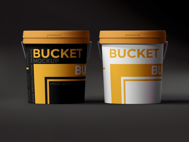 Paint plastic bucket mockup