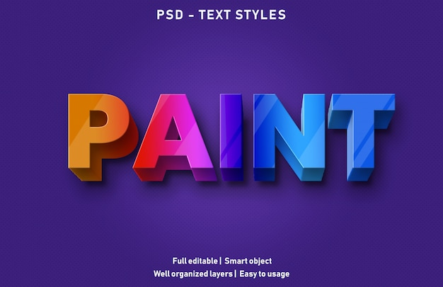 Paint text effects style editable psd