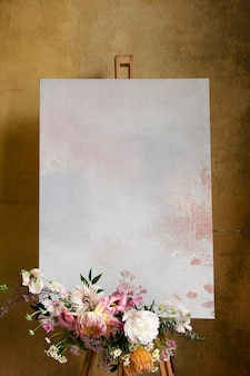 Painted canvas mockup with a bouquet of flowers