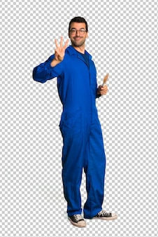 Painter man happy and counting three with fingers