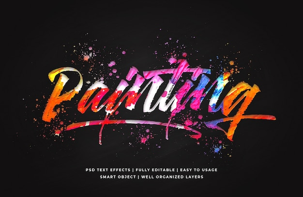Painting 3d text style effect template