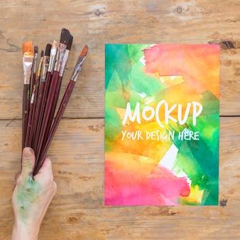 Mock-up della collezione di pennelli per pittura