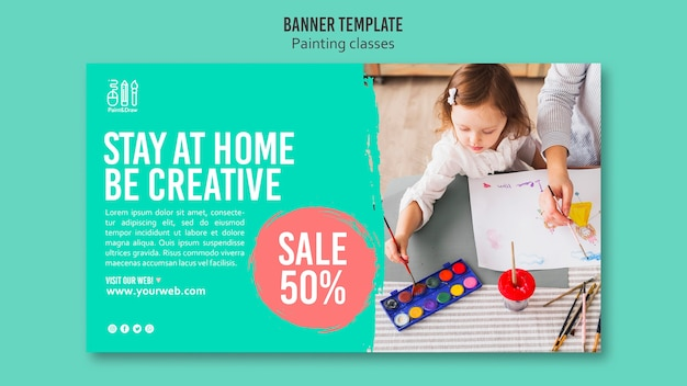 Painting classes banner template