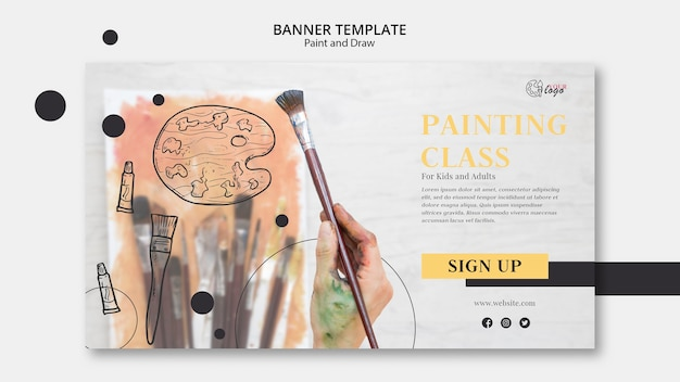 Painting classes for kids and adults banner template