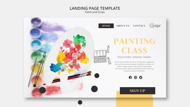 Painting classes for kids and adults landing page