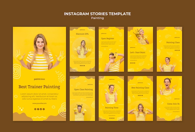 Painting concept instagram stories template