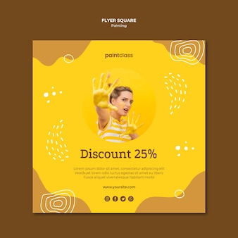 Painting concept square flyer template