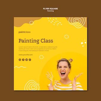 Modello di volantino quadrato concetto di pittura