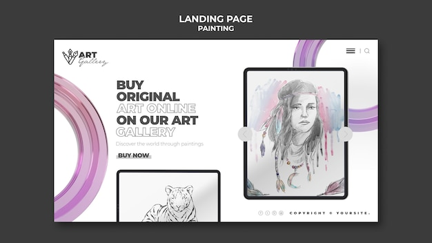 Painting gallery landing page template