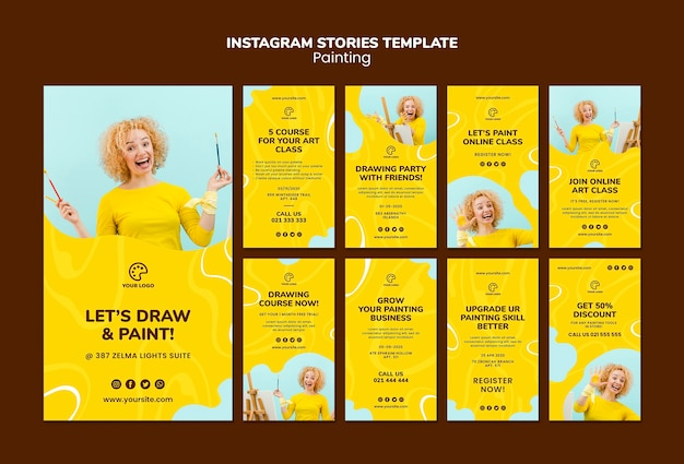 Painting instagram stories template