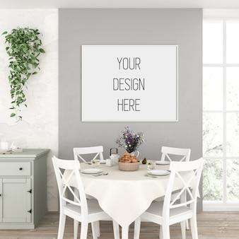 Painting mockup, kitchen with horizontal frame, scandinavian interior