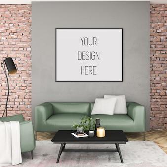 Painting mockup, living room with horizontal frame, scandinavian interior