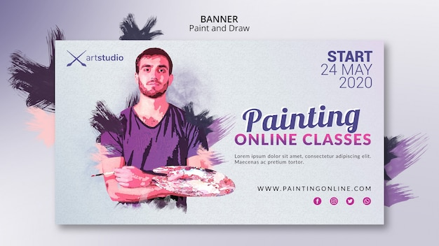 Painting online classes art studio banner