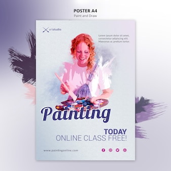 Painting online classes flyer template