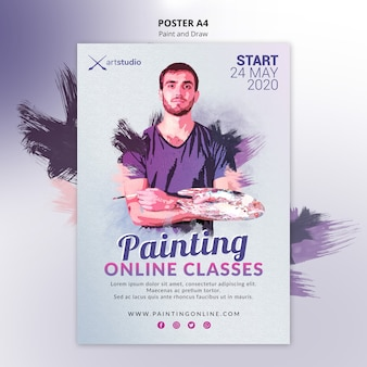 Painting online classes poster template