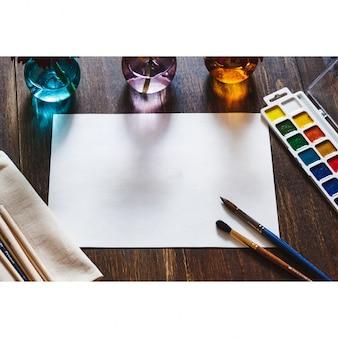 Pittura carta progettazione mock up