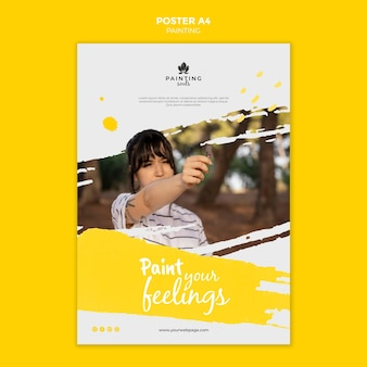 Painting poster template with photo