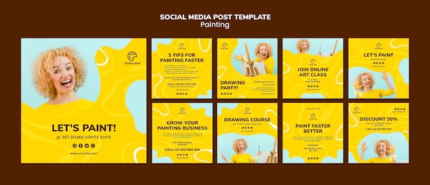 Painting social media post template