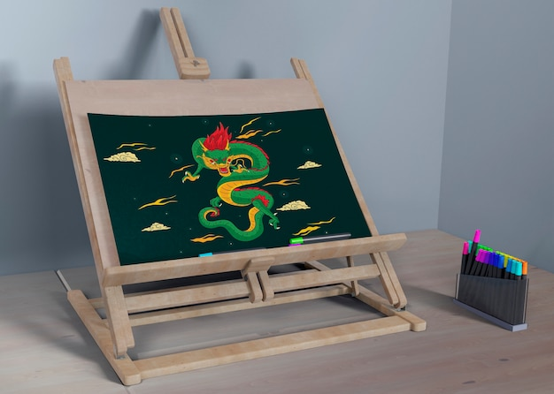 Painting support with colorful draw