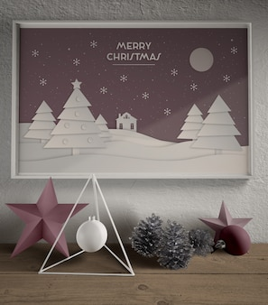 Painting with christmas theme mock-up