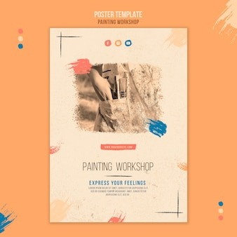 Painting workshop flyer template with photo