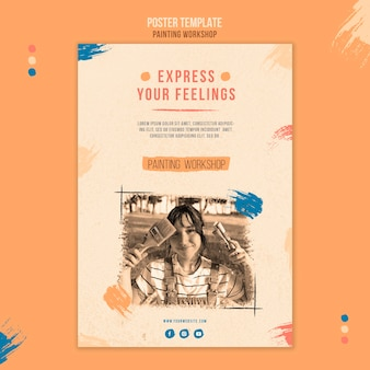 Painting workshop flyer template
