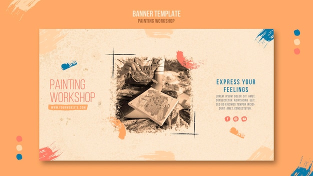 Painting workshop horizontal banner template