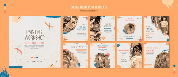 Painting workshop social media posts template