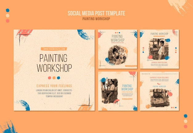 Painting workshop social media posts