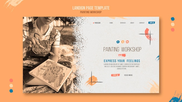 Painting workshop web template with photo