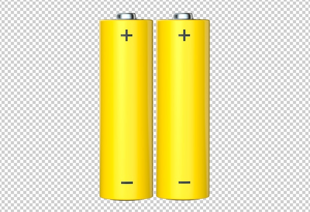 Pair of aa yellow rechargeable batteries