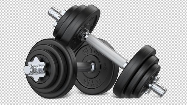 Pair of black rubber encased hand gym dumbbells