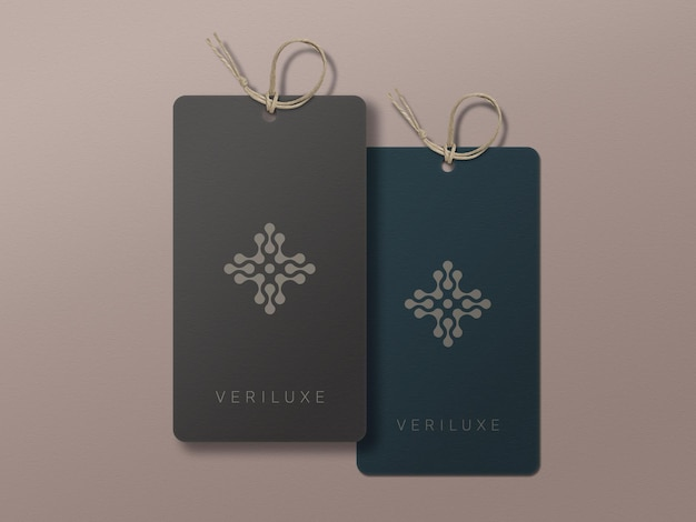 Pair of fashion label paper tags mockup