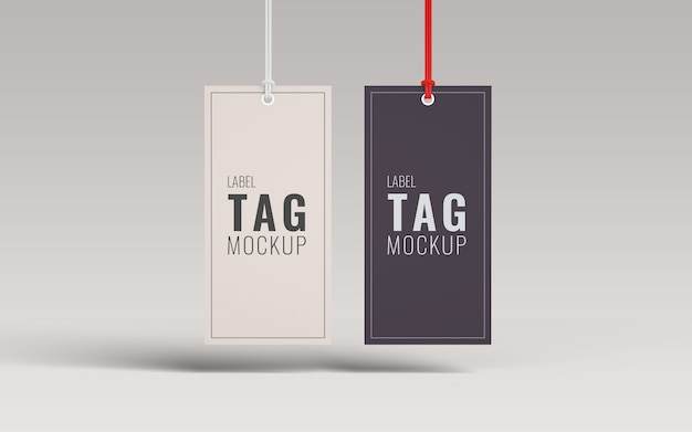 Pair fashion label tag mockup front view