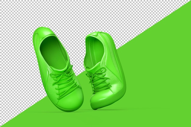 Pair of green sport shoes isolated